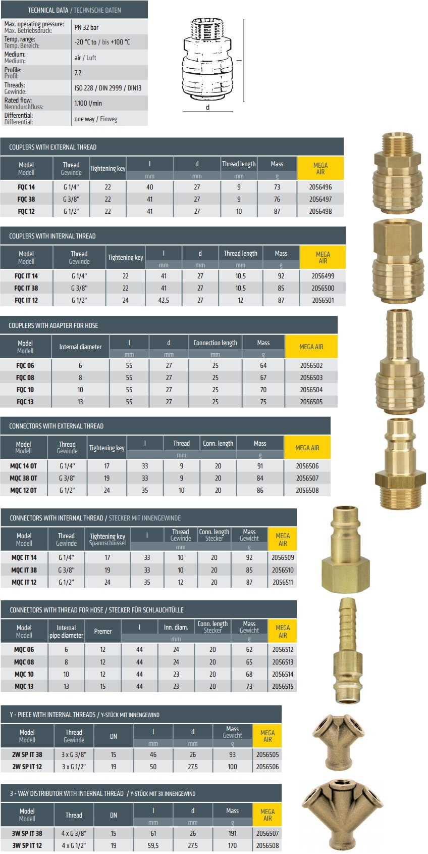 quick couplers for compressed air brass